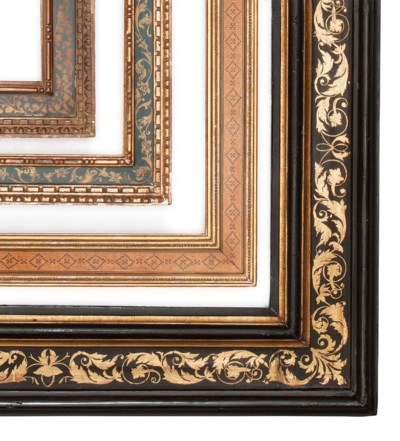 FOUR PAINTED WOOD PICTURE FRAM