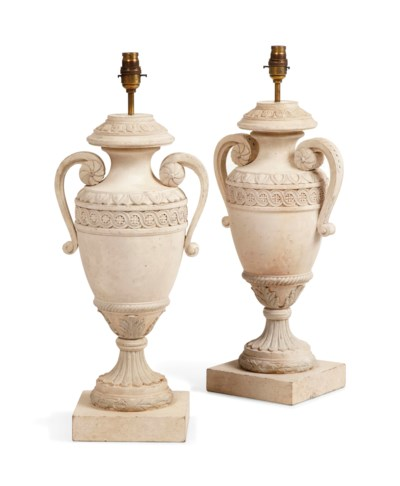 A PAIR OF PAINTED CARVED WOOD