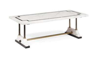 A WHITE MARBLE LOW TABLE
