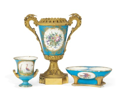 A SEVRES TURQUOISE-GROUND VASE