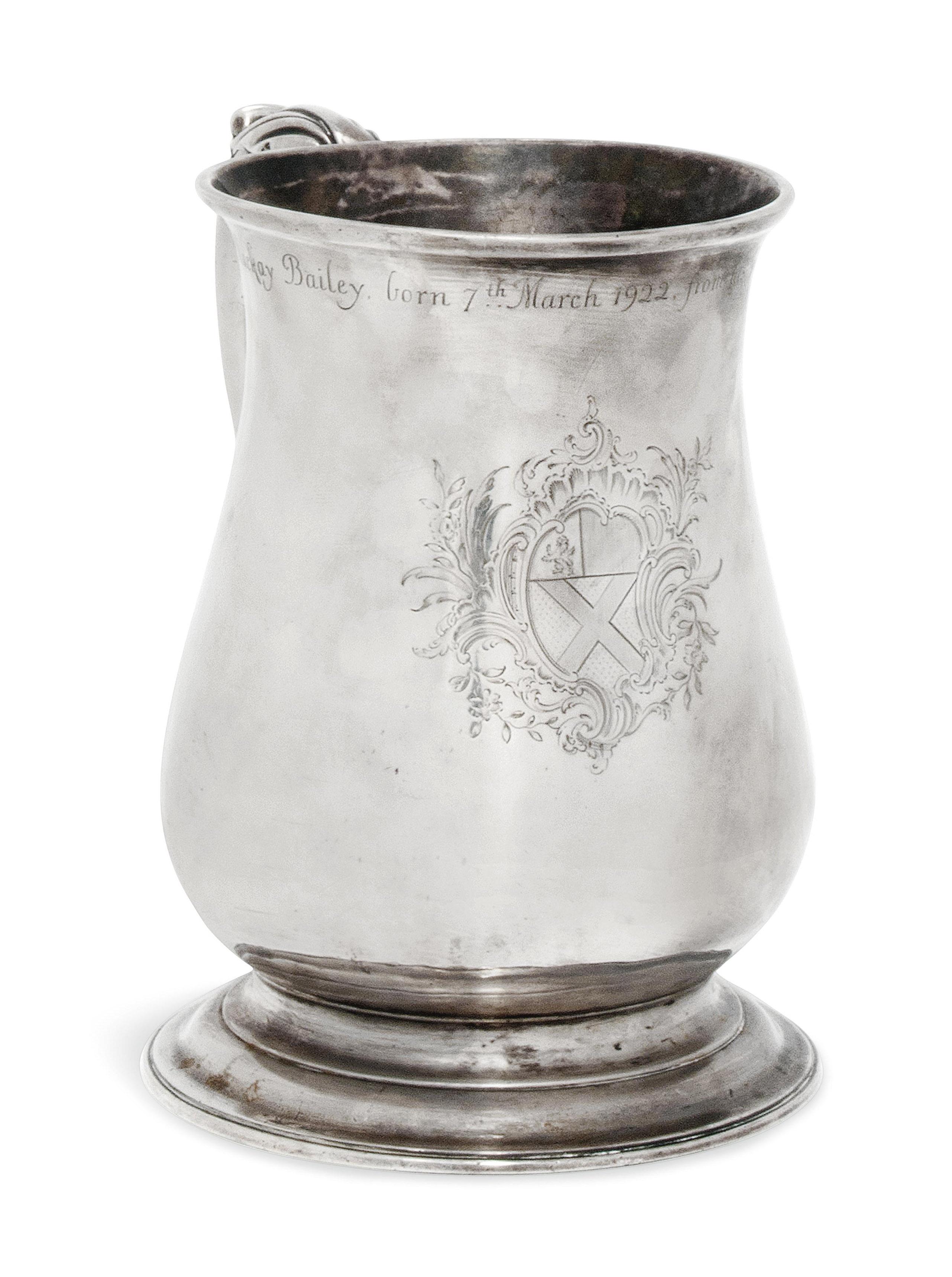 A GEORGE II SILVER PINT MUG