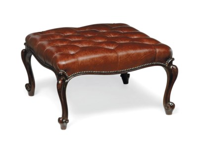 A VICTORIAN LEATHER-UPHOLSTERE