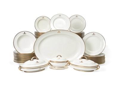 A MINTON ARMORIAL PART DINNER-