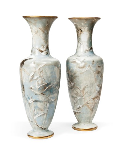 A PAIR OF BACCARAT OPALINE GLA