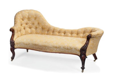 A VICTORIAN WALNUT CHAISE LONG