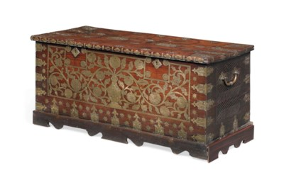 AN INDIAN TEAK AND BRASS CHEST