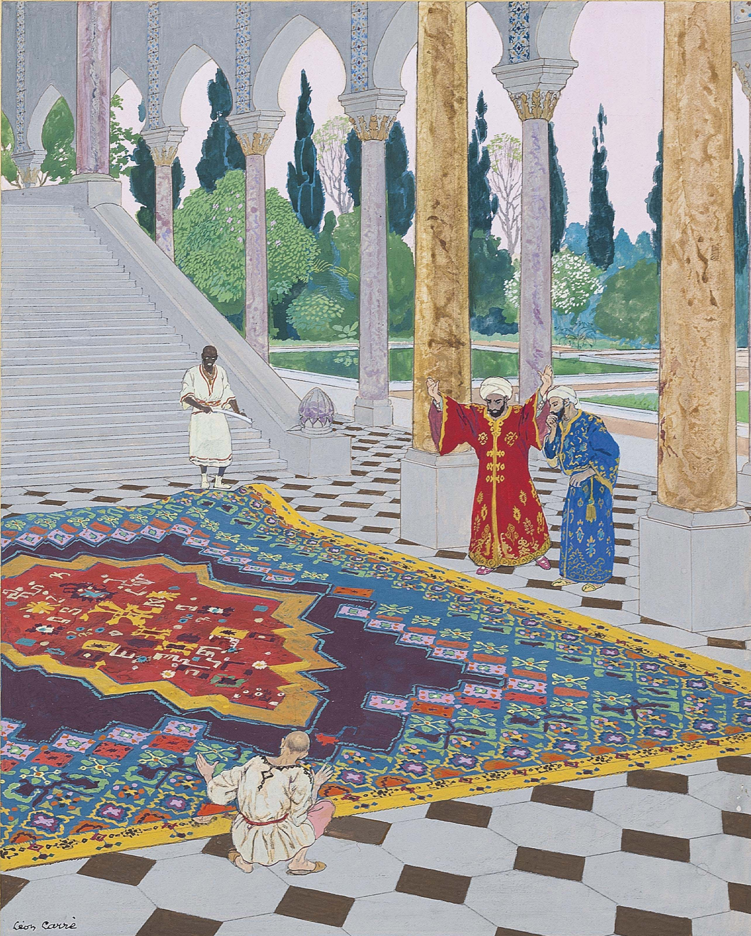 A magnificant carpet was spread out, from 'The Story of Baïbars and the Police Captains'