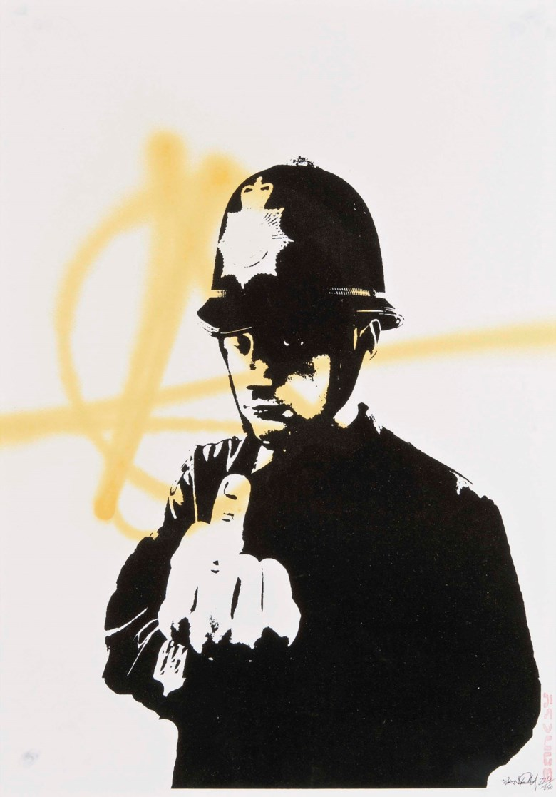Banksy (b. 1974), Rude Copper, 2002. Screenprint with unique yellow spray painting on wove paper, signed and numbered 224250 in black ink. 593 x 420 mm. Sold for £10,000 on 7 December 2011 at Christie's in London. Artwork Courtesy of Pest Control Office