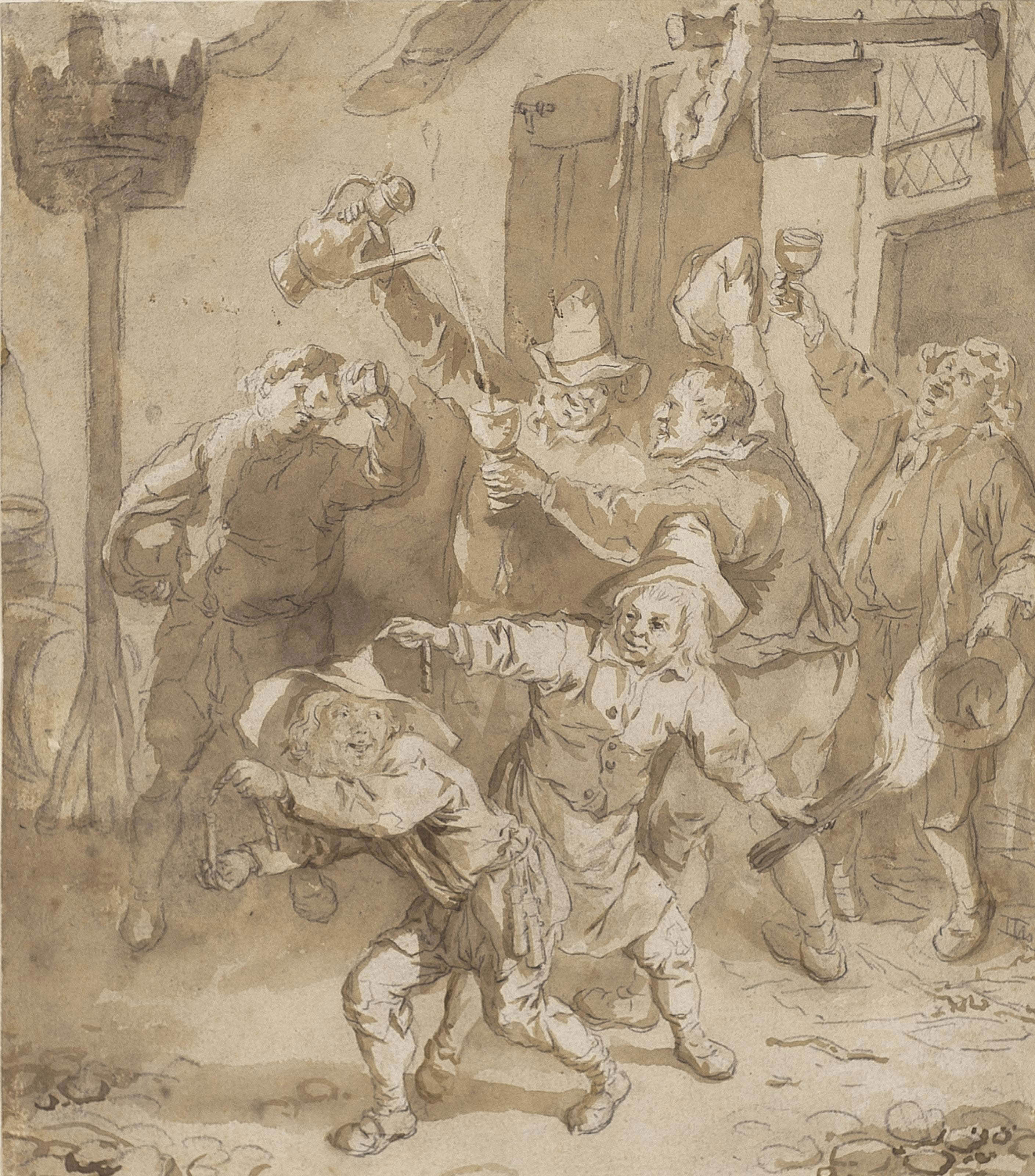 Peasants carousing outside a tavern (recto); Study of a prowling cat (verso)