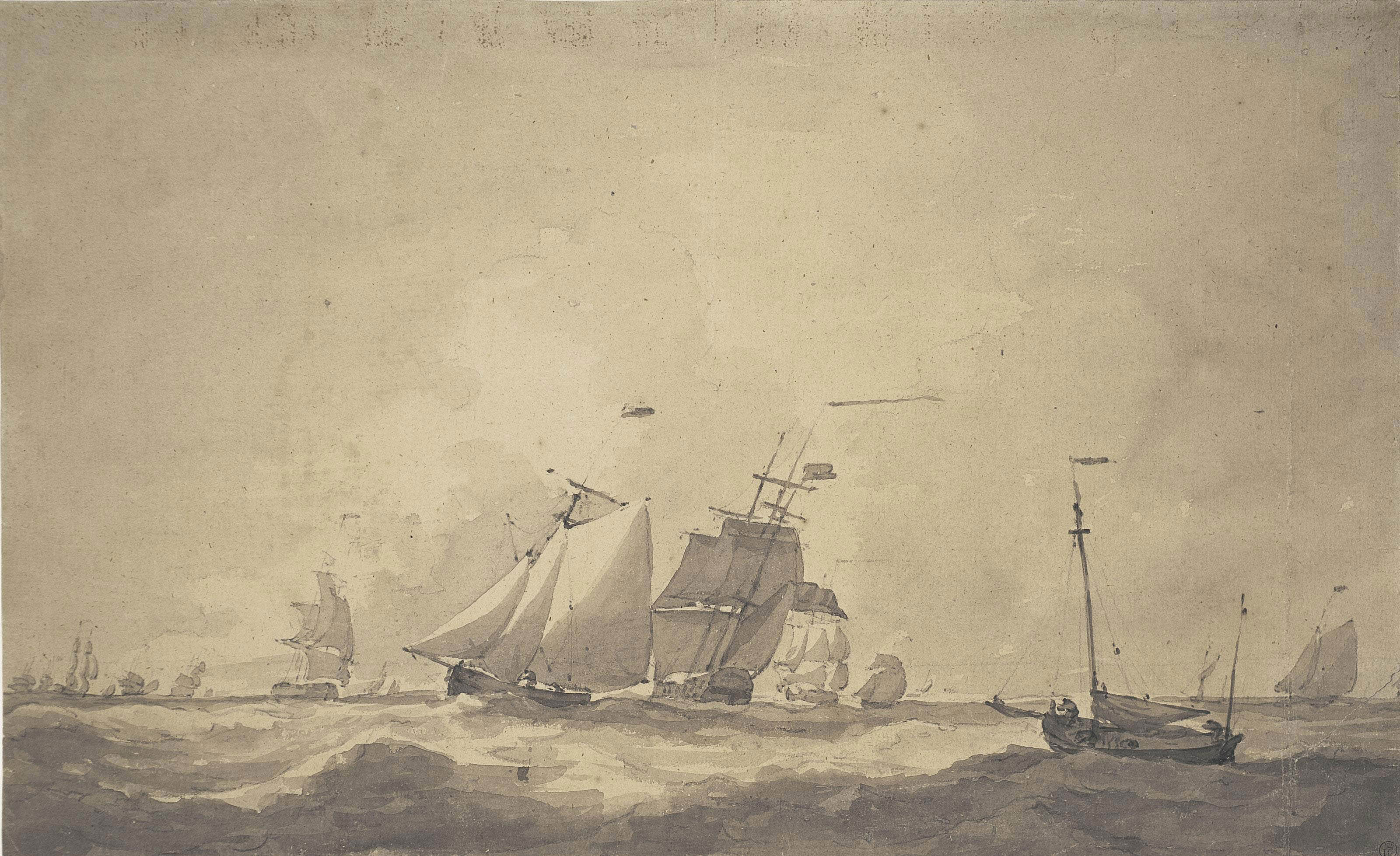 A fleet on the open sea in high winds