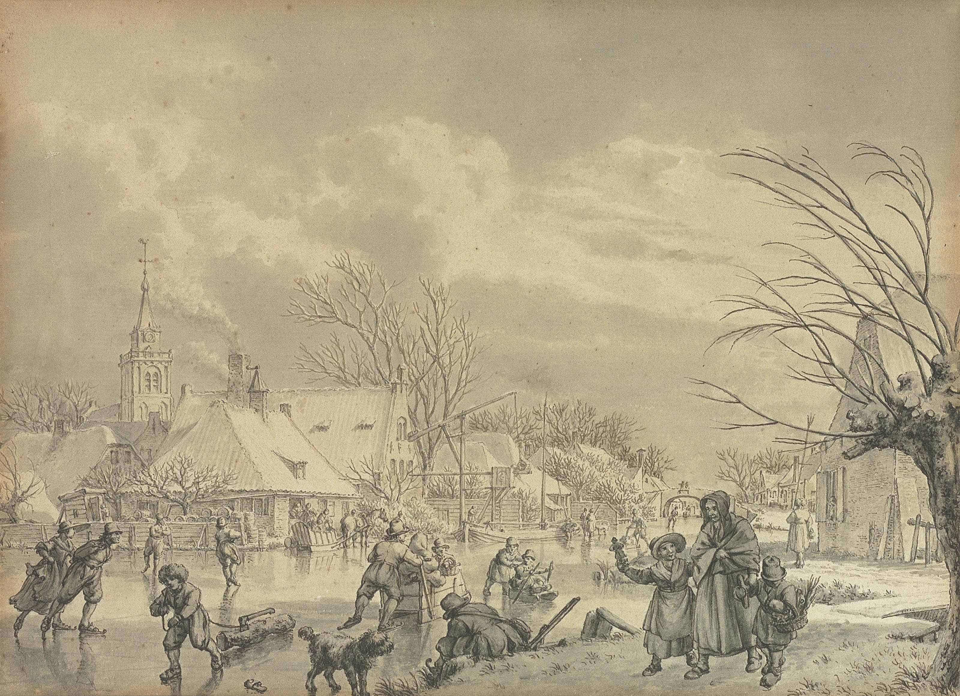 The month of December: skaters on a frozen river with a village beyond, possibly the village of Nieuwland near Leerdam