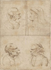 Caricatures of an old woman, wearing a carnation as a corsage, an old man wearing a cap, an old man with his mouth open, and an old woman shouting