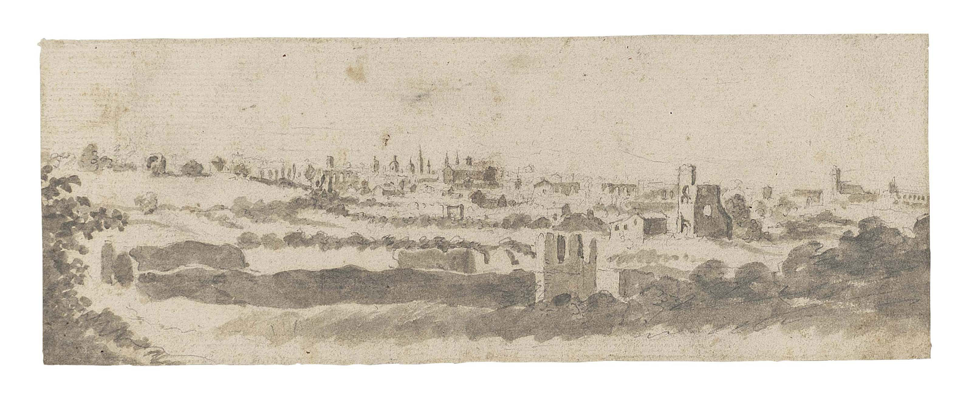 A panoramic view of Rome from the campagna