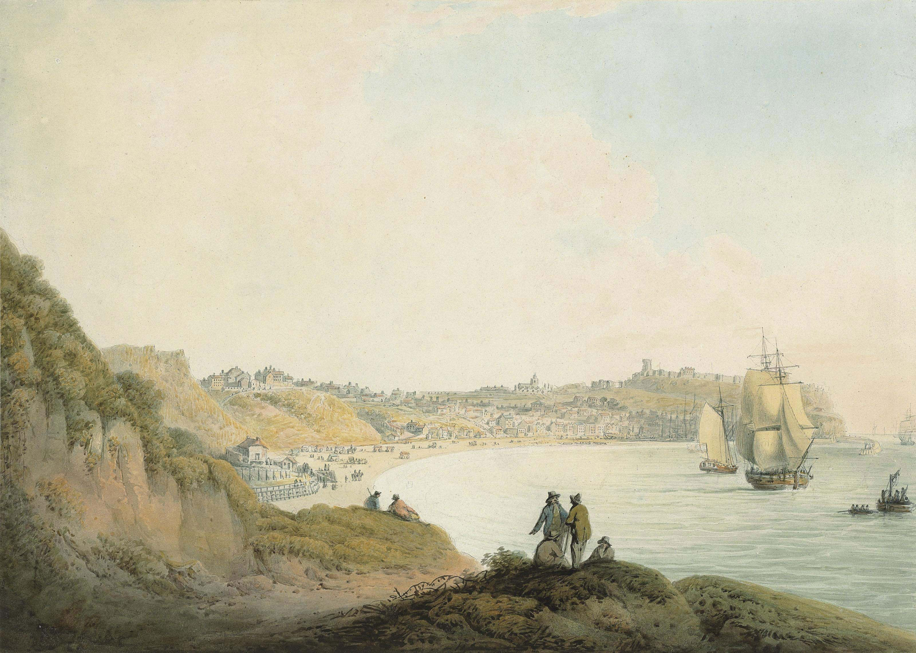 Figures conversing on a hill overlooking ships anchored in Scarborough Bay, the castle beyond