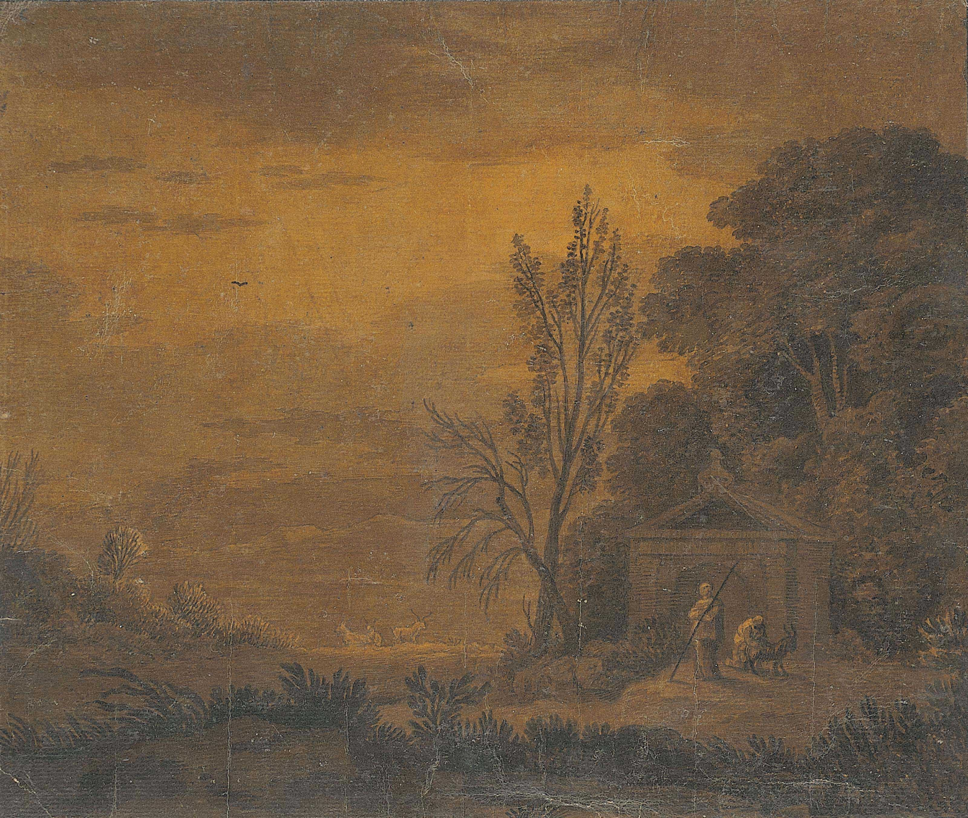 A wooded landscape with two figures and a goat before a classical temple