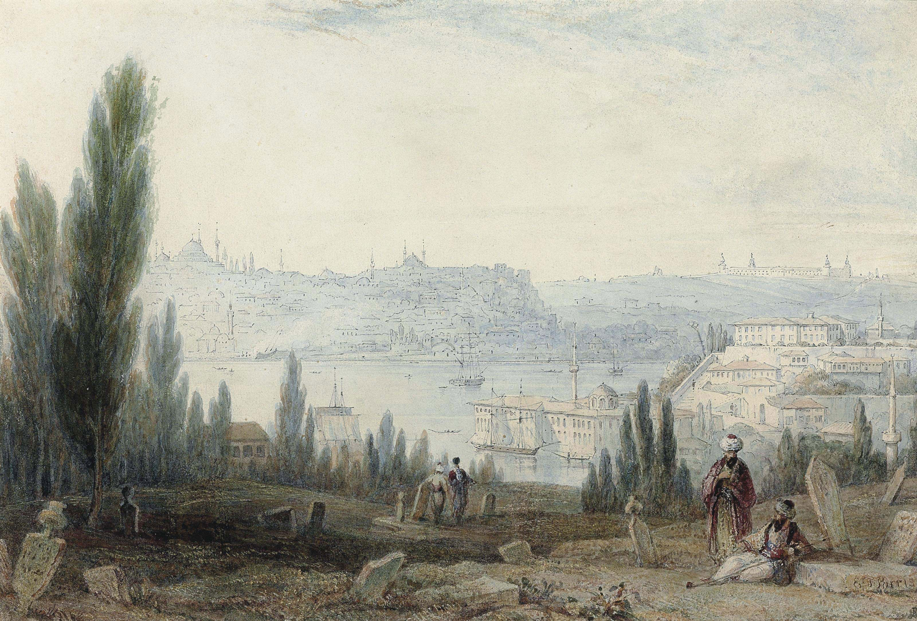 Figures resting in the Turkish cemetary, Ayoub, the city of Constantinople and the Bosphorus beyond