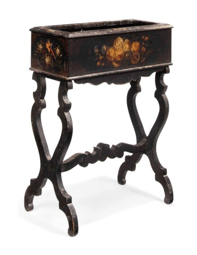 AN EBONISED AND FLORAL-DECORAT