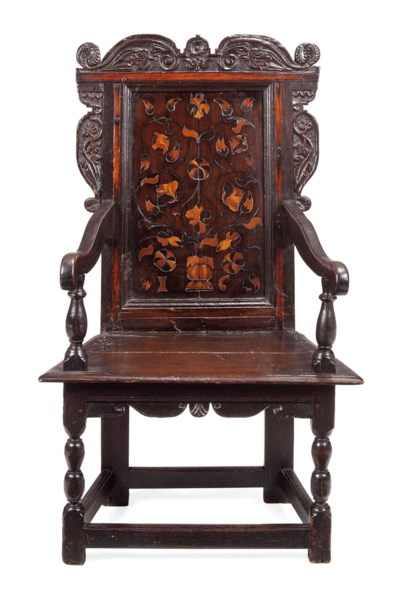 A CHARLES II OAK AND MARQUETRY