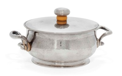 A GERMAN SILVER COVERED BOWL