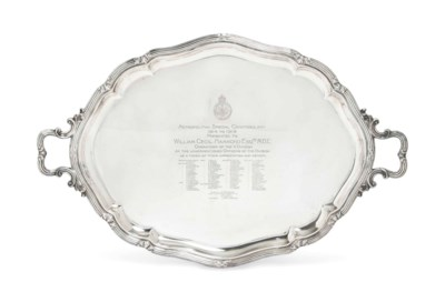 A LARGE OVAL SILVER TWO-HANDLE