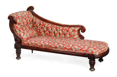 A WILLIAM IV MAHOGANY CHAISE L