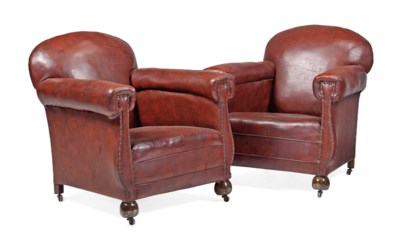 A PAIR OF LEATHER-COVERED EASY