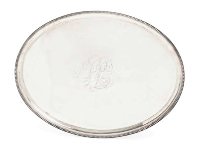 A LARGE GEORGE III OVAL SILVER