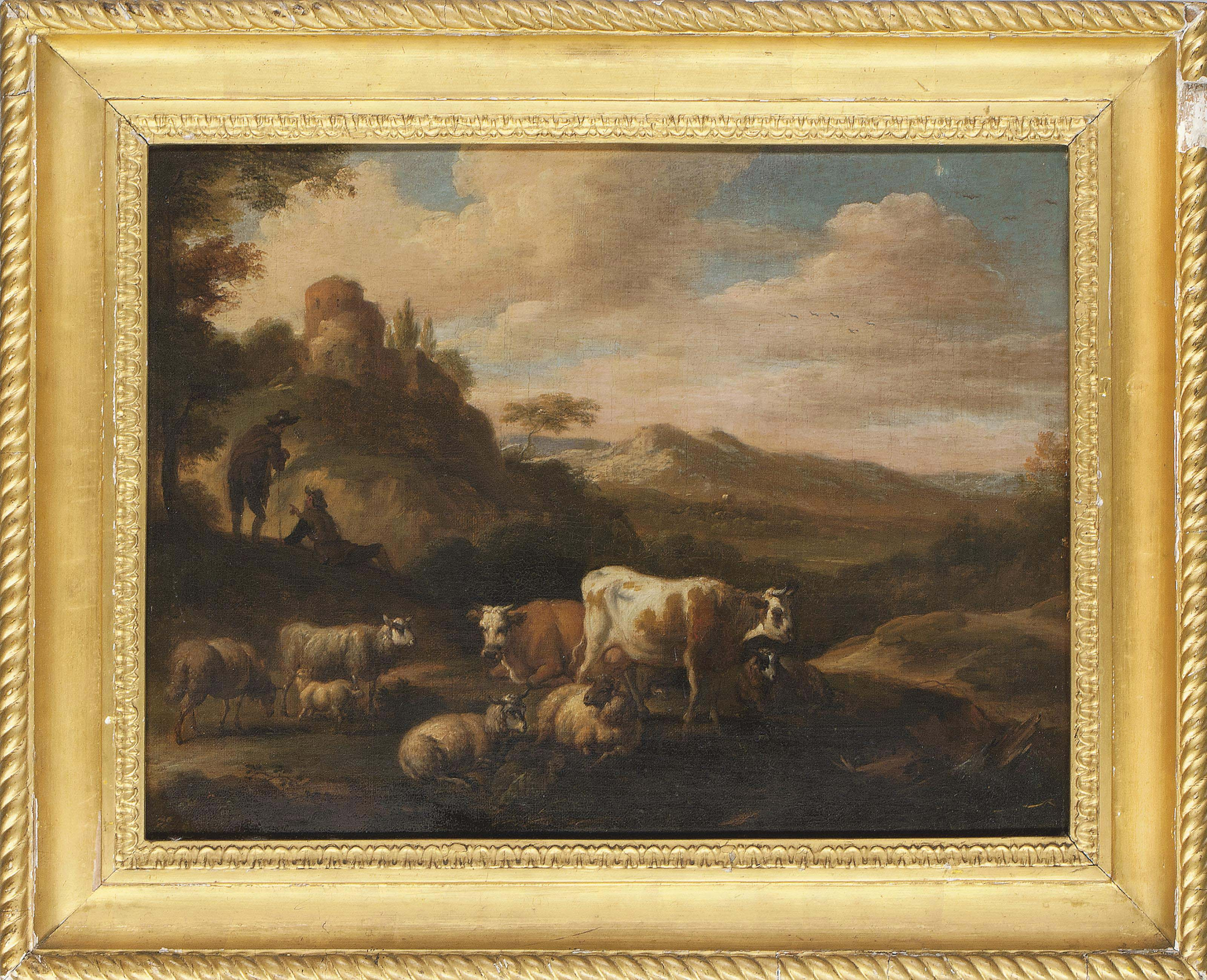 An Italianate landscape with cattle and shepherds