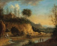 A river landscape with travellers on a path, a hilltop house above