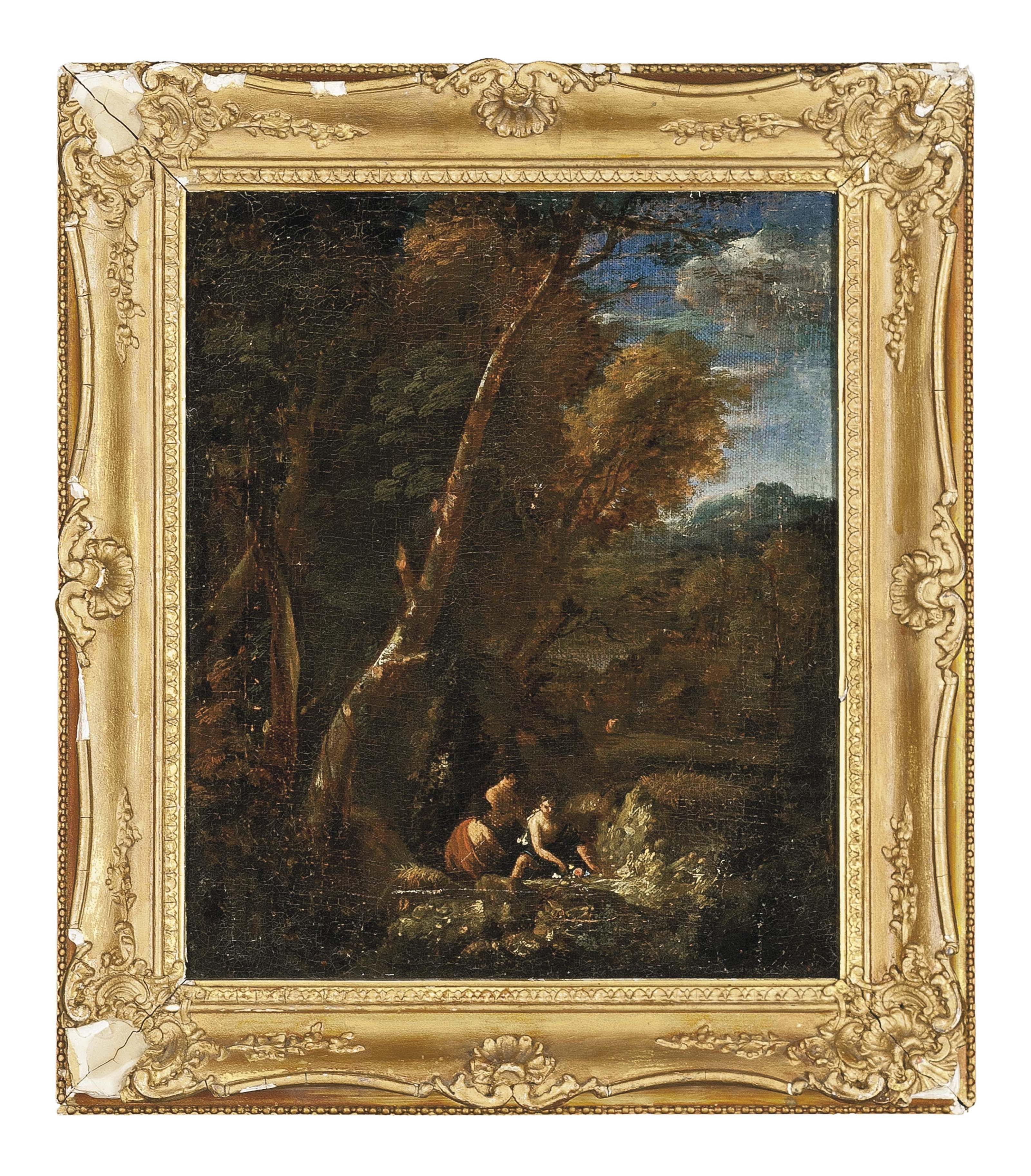 A wooded landscape with classical figures