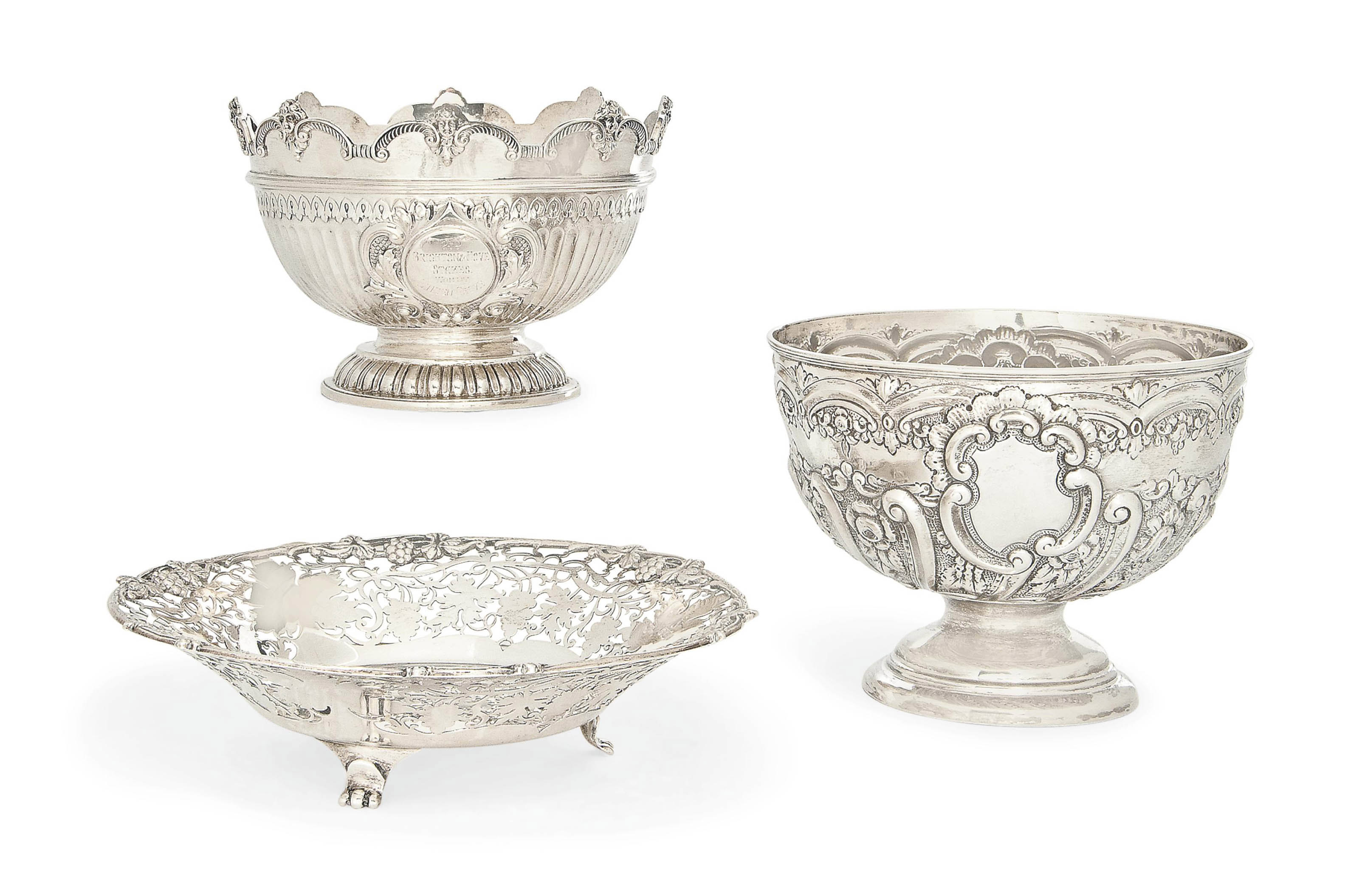 A VICTORIAN SILVER PRESENTATION BOWL IN THE FORM OF A MONTEITH