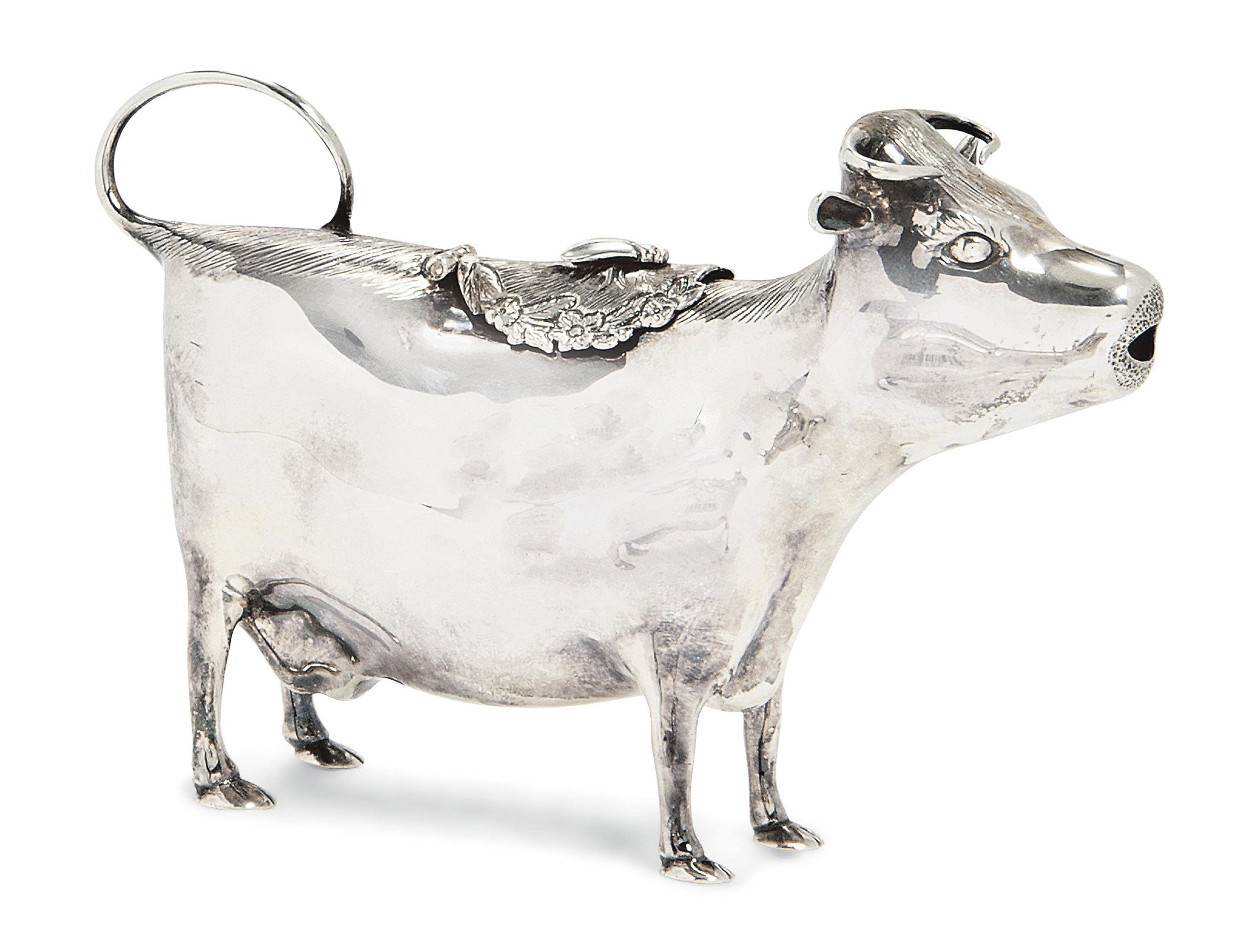 A MODERN SILVER COW CREAMER IN MANNER OF JOHN SCHUPPE