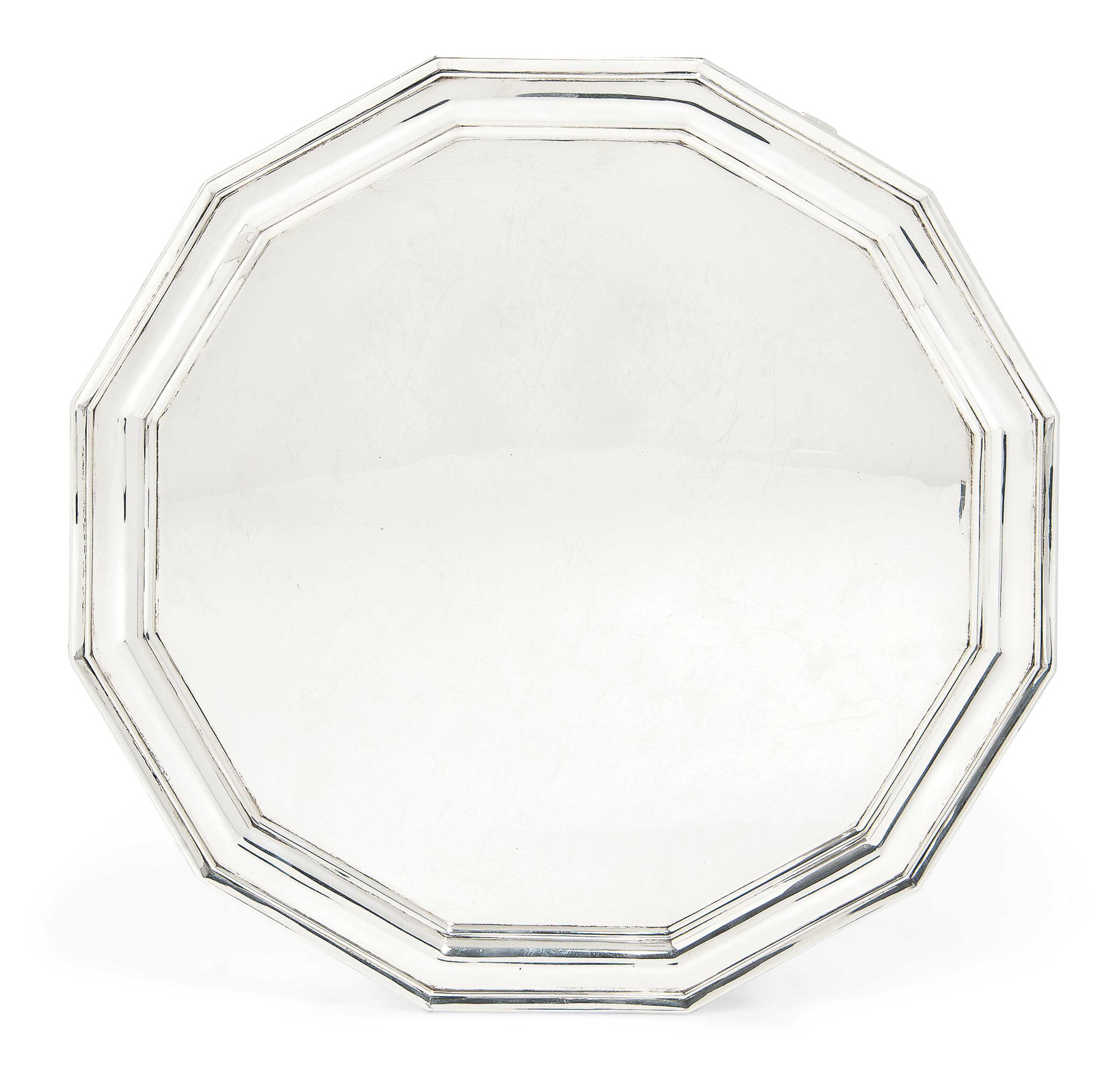 A TWELVE-SIDED SILVER SALVER