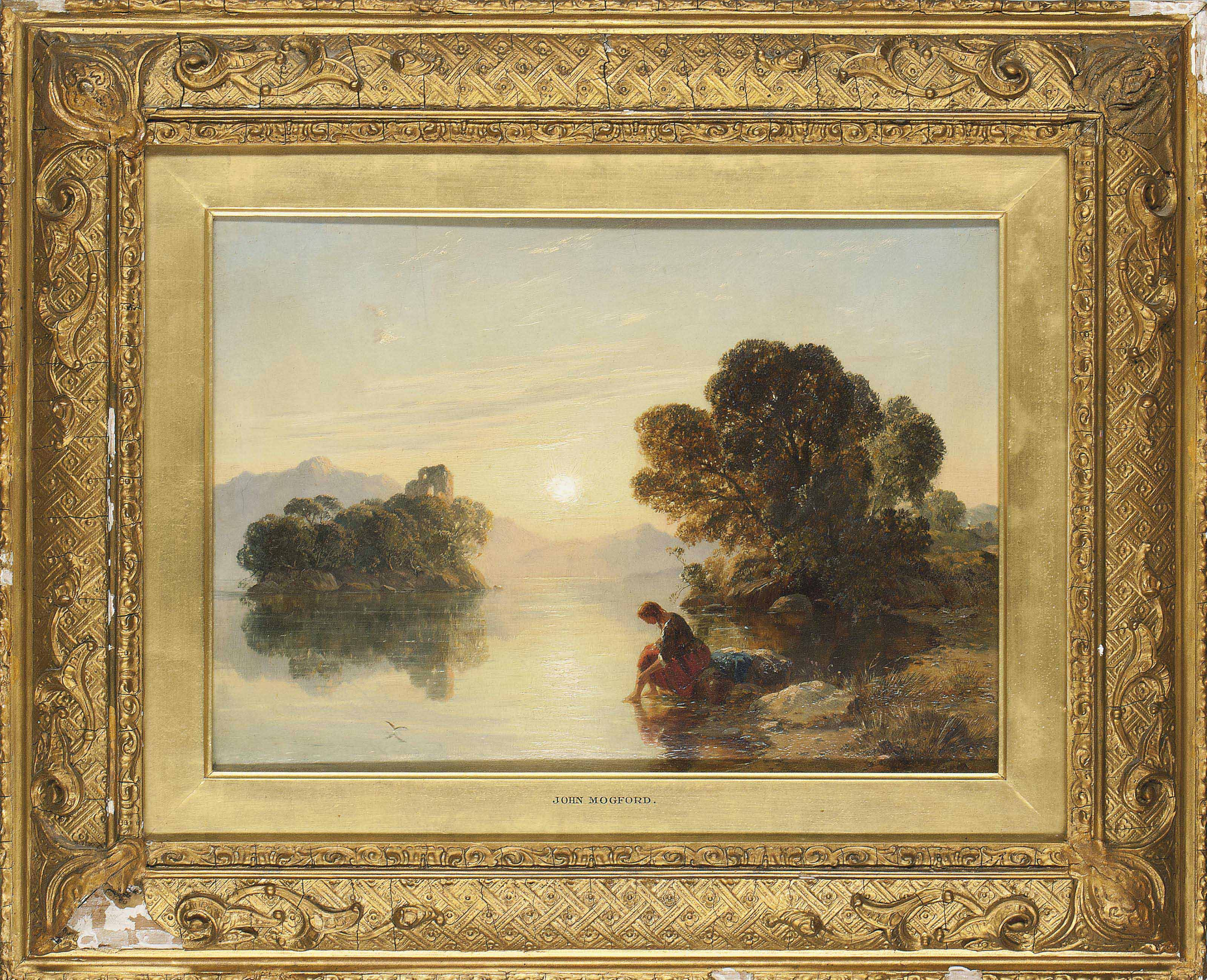 A young girl washing by a sunlit lake
