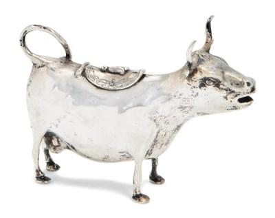 A GERMAN SILVER COW CREAMER