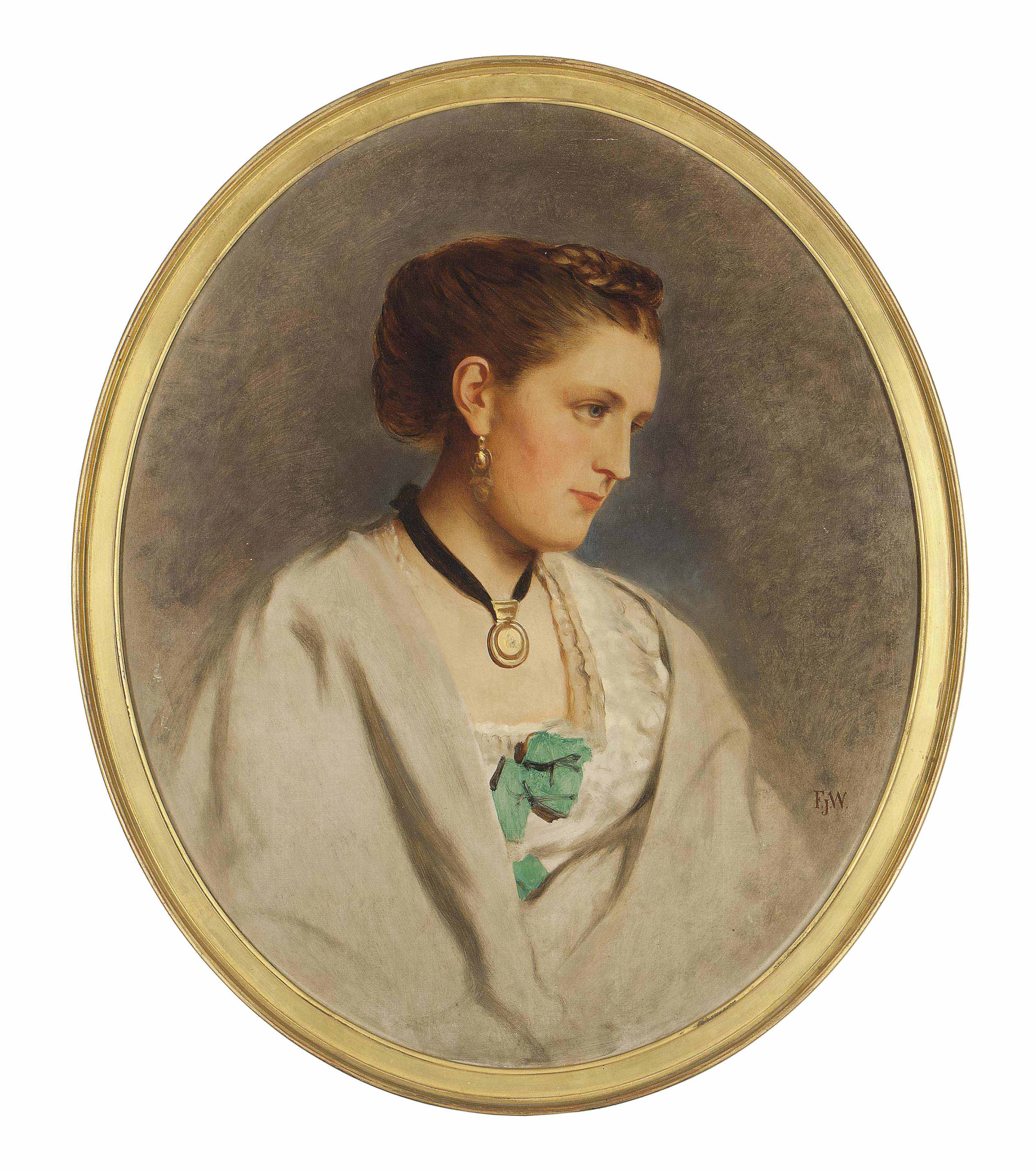 Portrait of a lady, bust-length, in a white dress and wrap