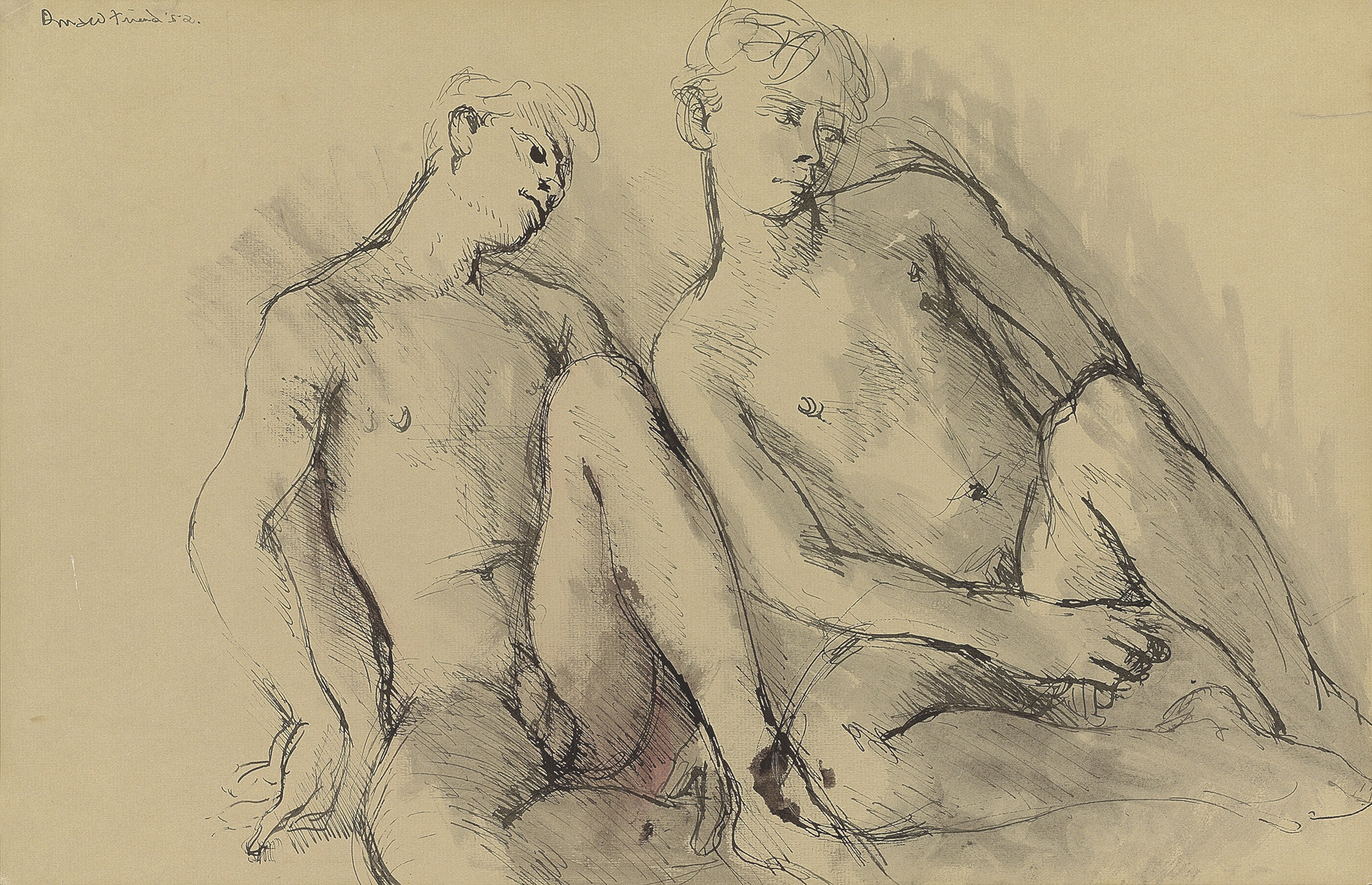 Nude studies; and Two seated male nudes