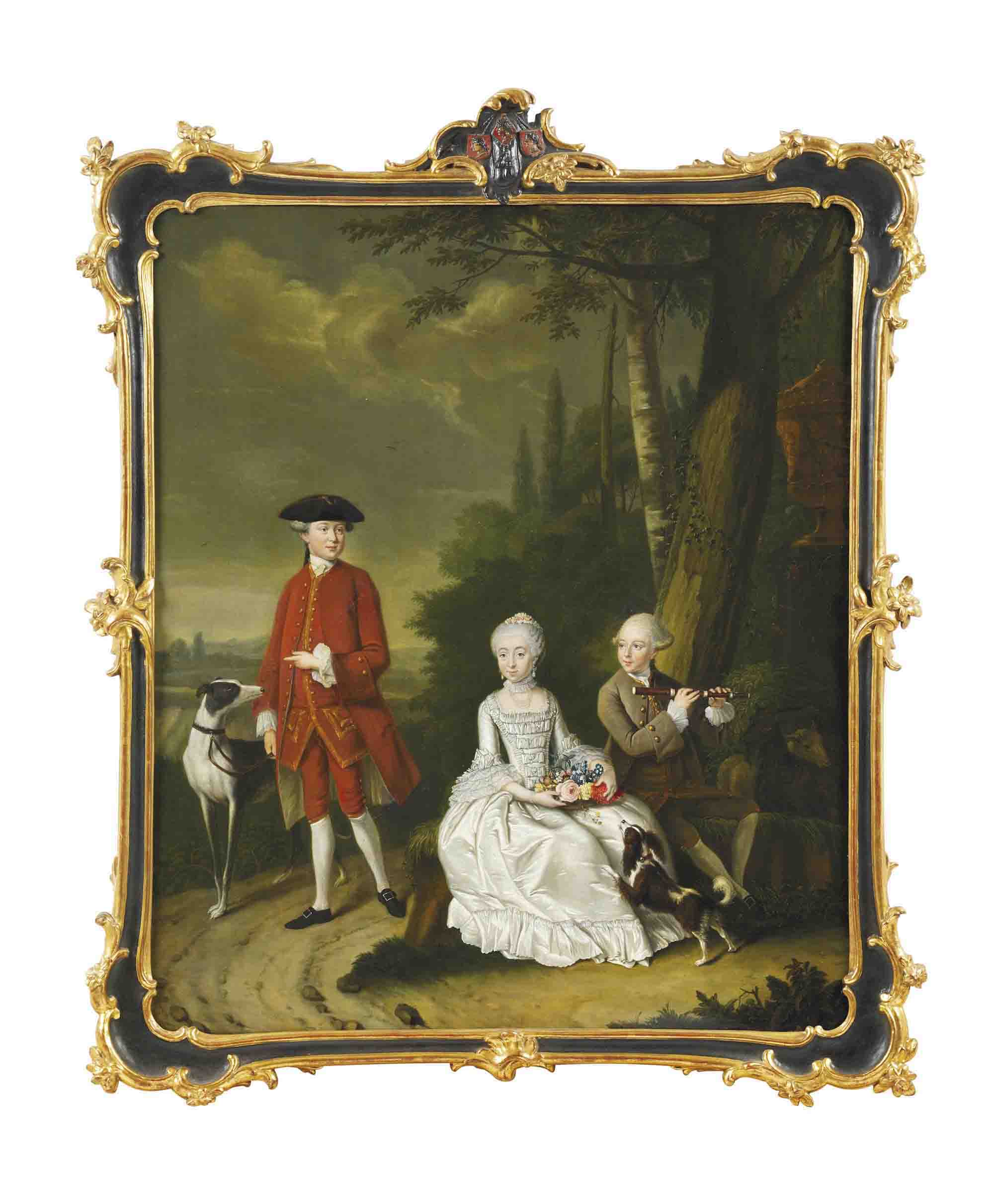 A group portrait of Isaac Willensz Hooft, Daniel Willensz Hooft and Clare Hidegonda Hooft with a spaniel and lurcher in a landscape