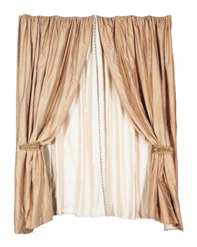 TWO PAIRS OF SILK CURTAINS WIT