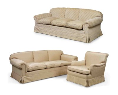 A PAIR OF SOFAS