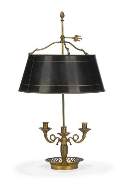 A FRENCH GILT-BRASS LAMPE BOUI