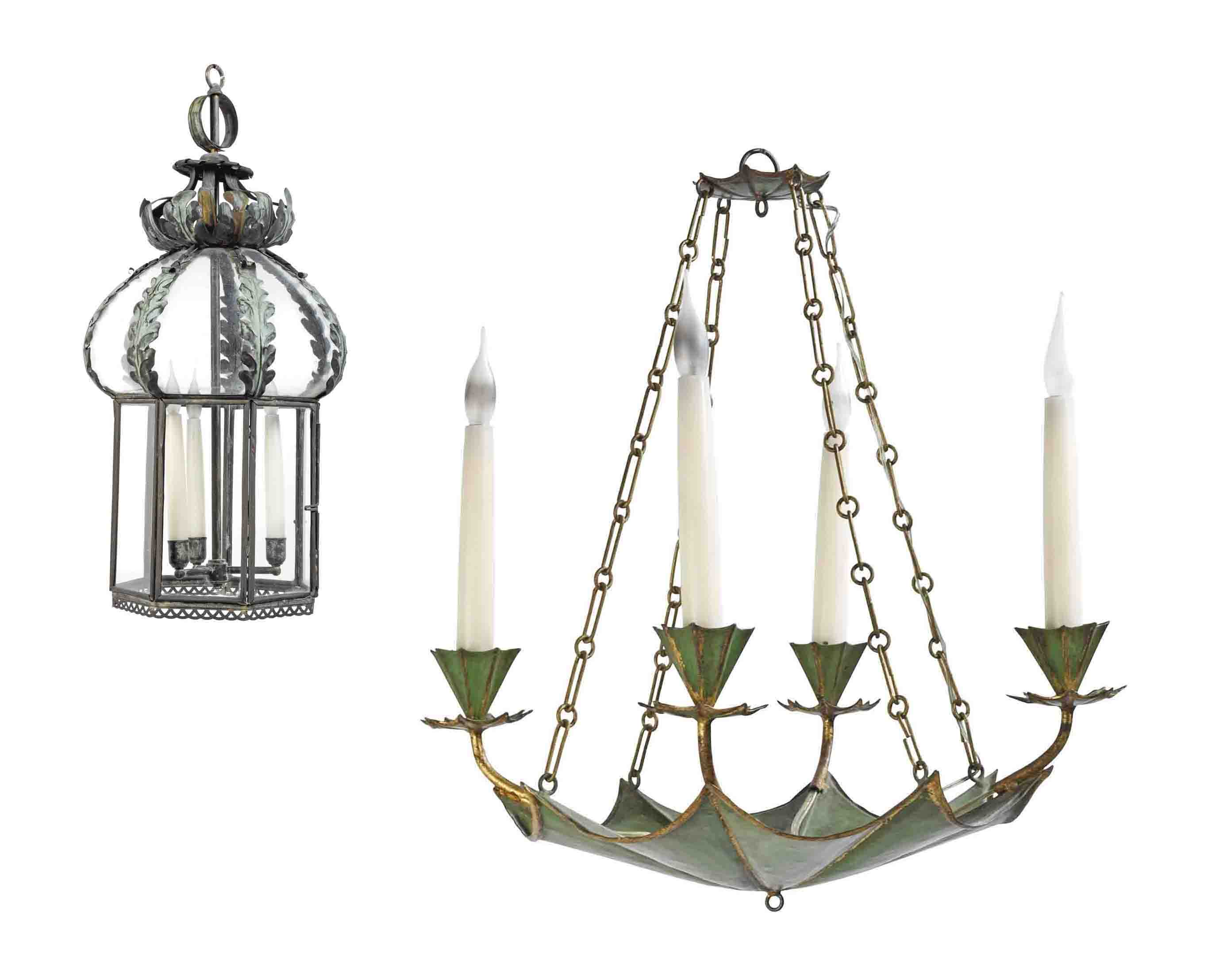 A GREEN AND GILT TOLE FOUR-LIGHT CHANDELIER