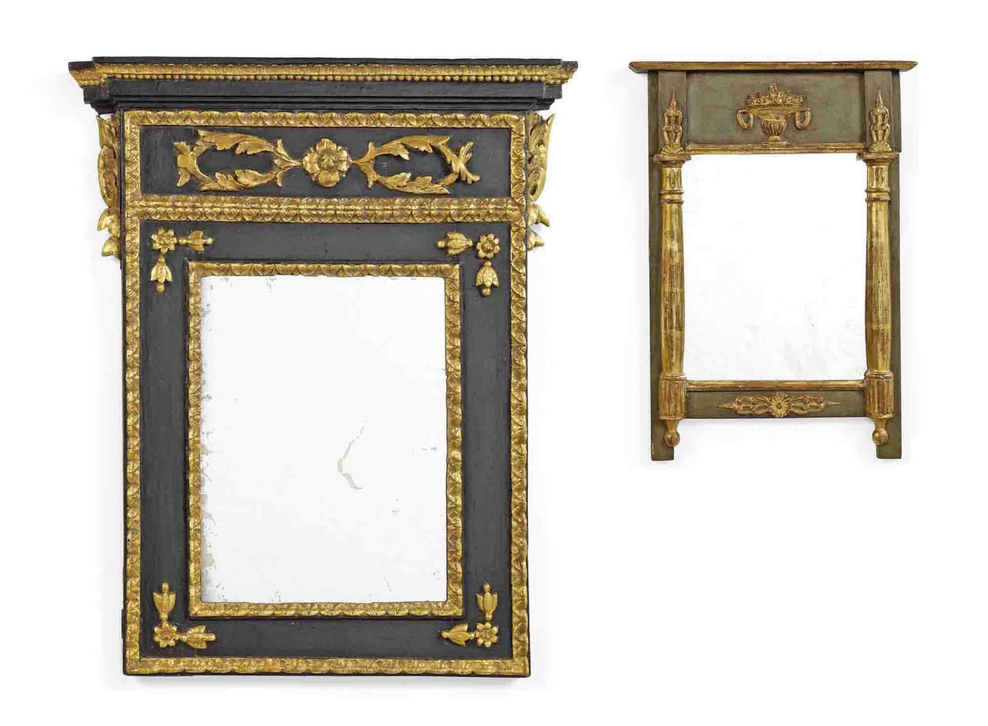 NORTH ITALIAN PARCEL-GILT AND BLACK PAINTED MIRROR