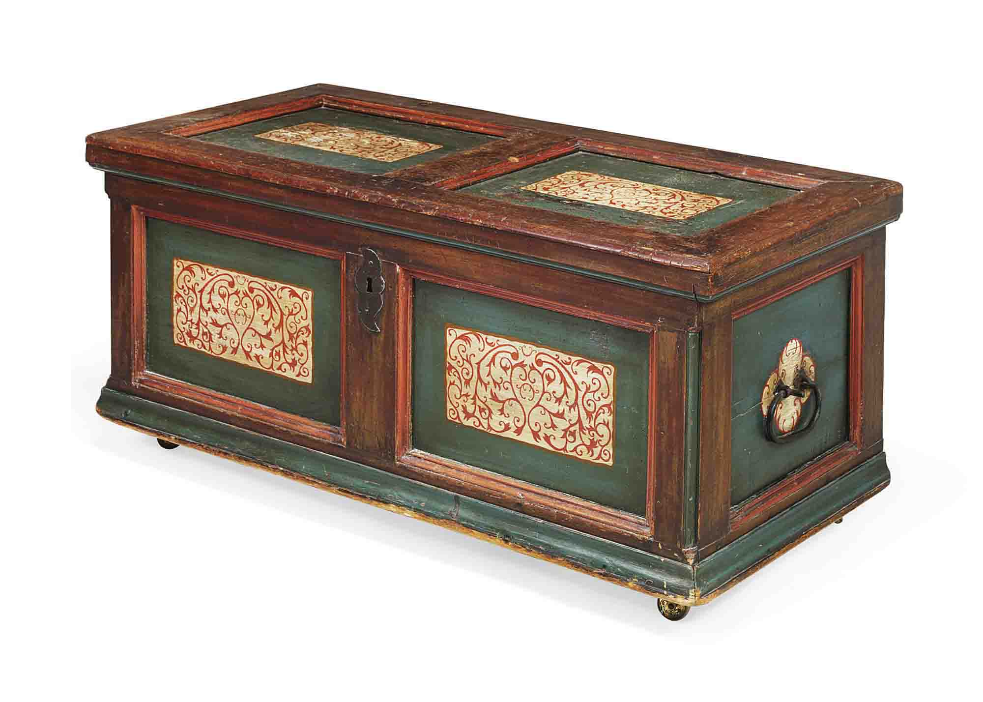 AN AUSTRIAN POLYCHROME DECORATED WALNUT AND PINE CHEST