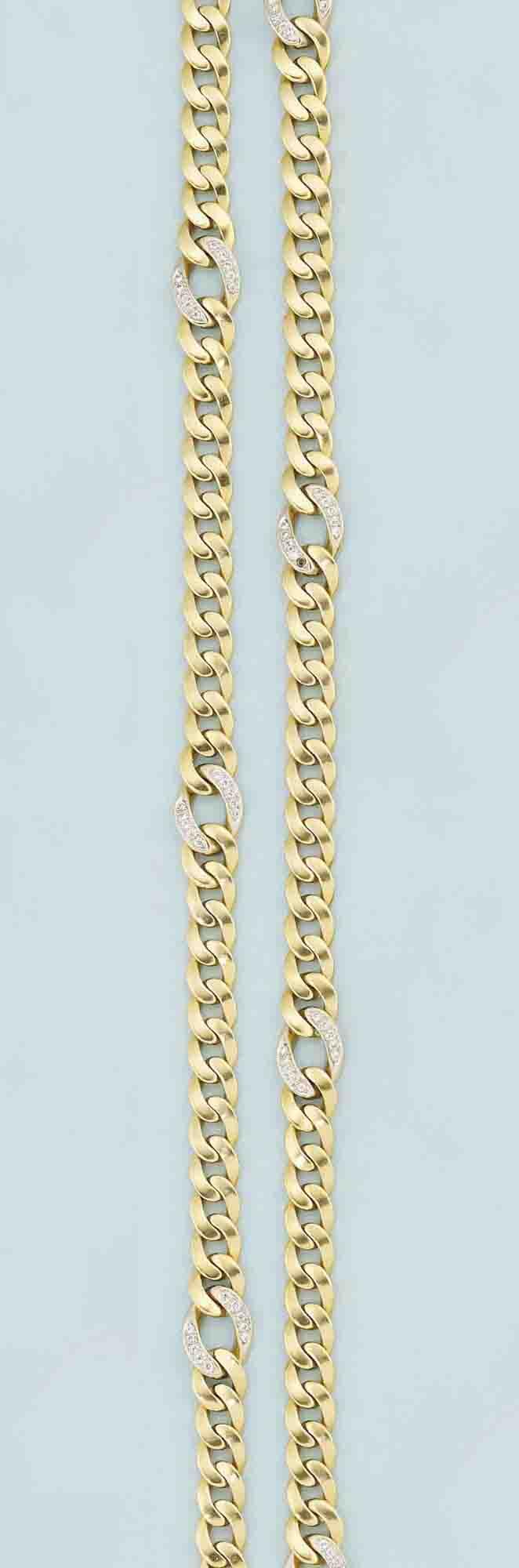 Two diamond-set necklaces