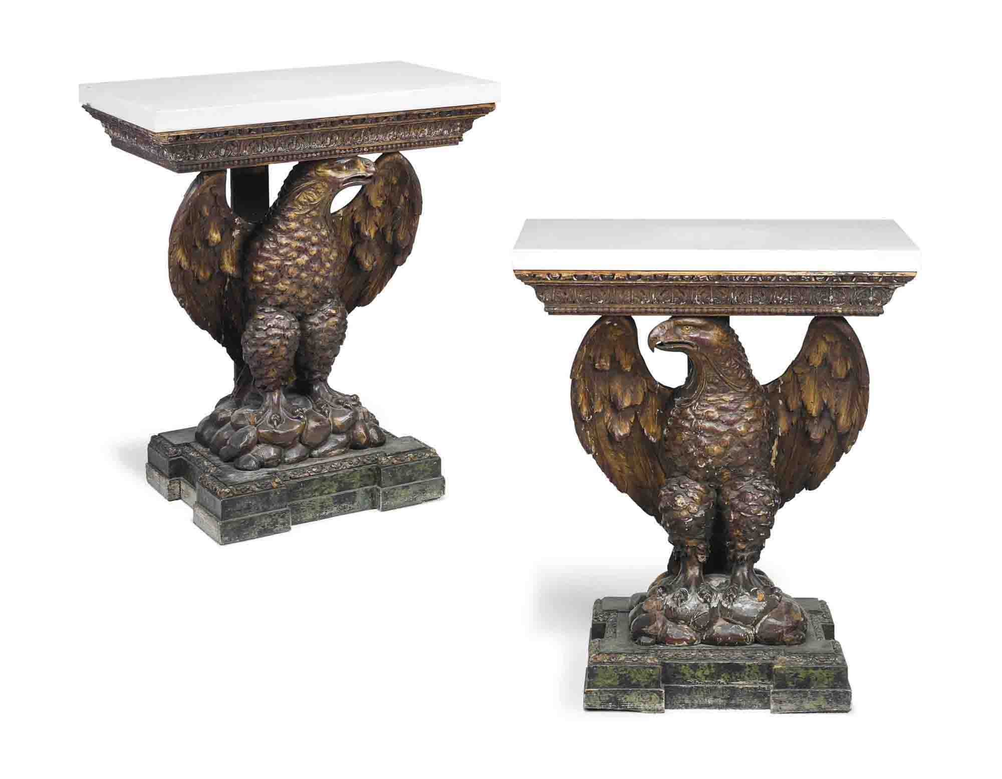 A PAIR OF PARCEL-GILT AND PAINTED CONSOLE TABLES