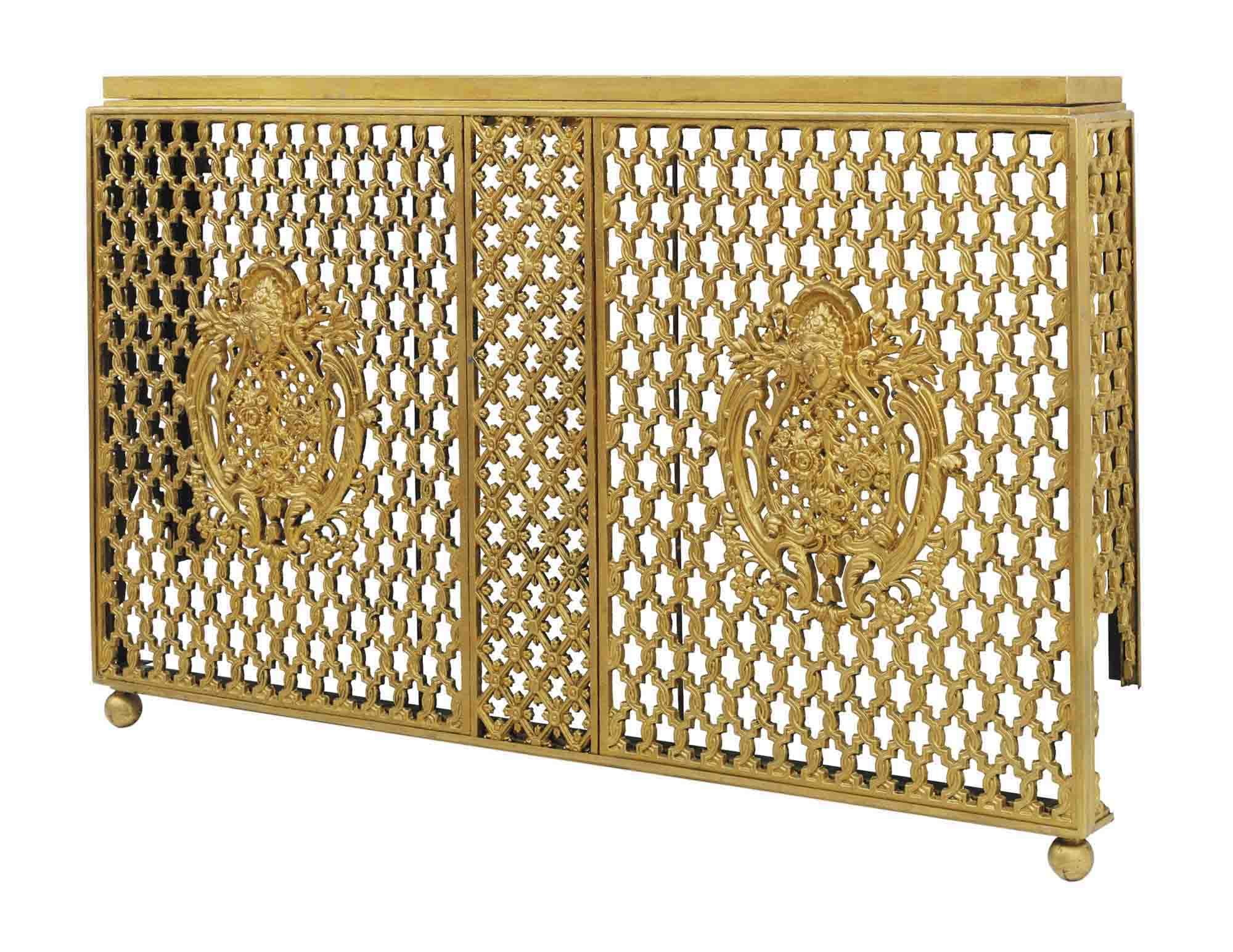 A pair of gold painted cast iron radiator covers late - Cast iron radiator covers ...