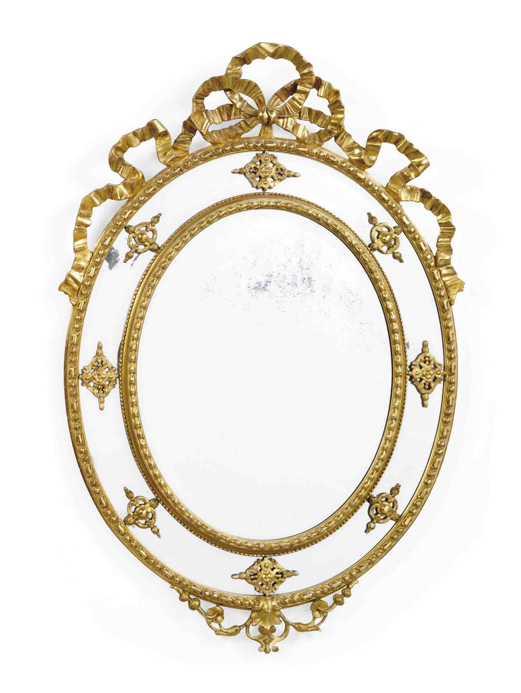 A FRENCH GILTWOOD AND COMPOSITION MIRROR