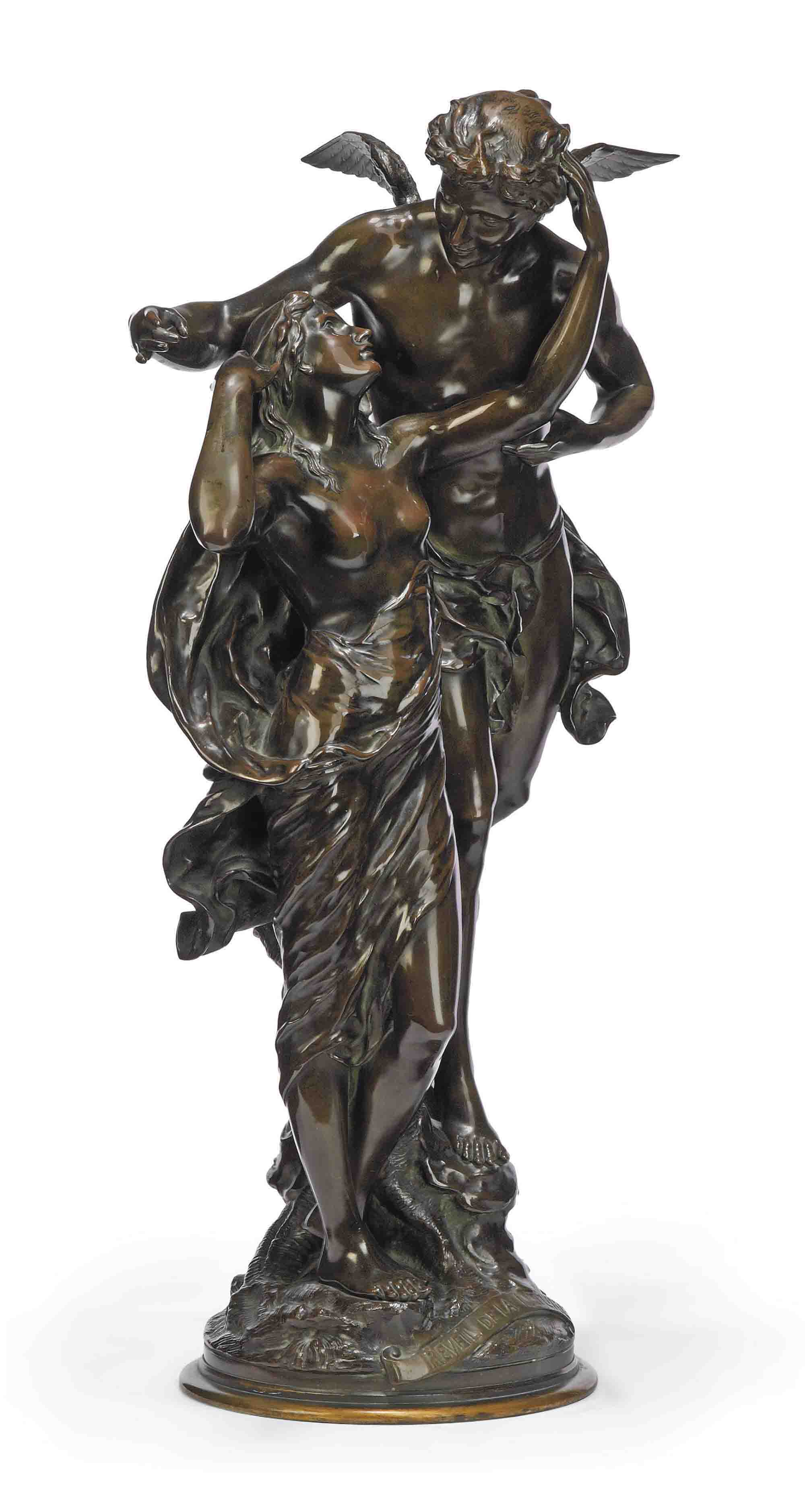 A FRENCH BRONZE GROUP OF 'LA REVEIL DE LA NATURE'