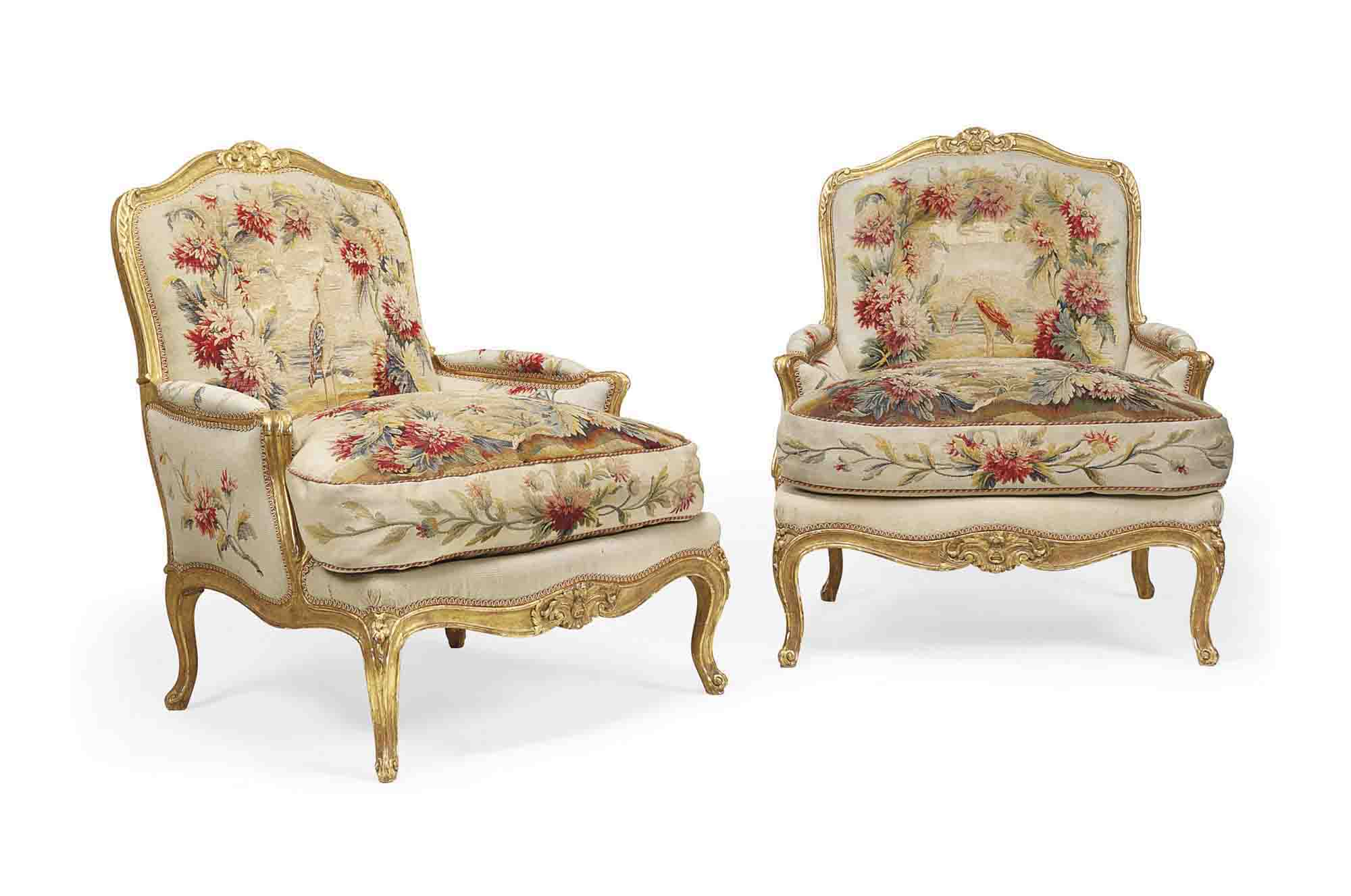 A PAIR OF LOUIS XV STYLE TAPESTRY COVERED GILTWOOD BERGERES